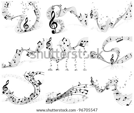 Nine vector musical notes staff backgrounds for design use - stock vector