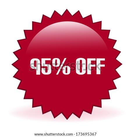 Ninety Five Percent Discount Sticker - stock vector