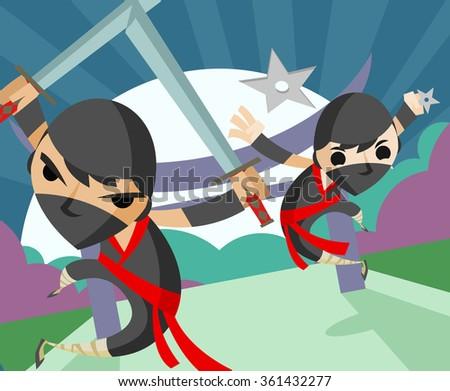 ninja attack - stock vector
