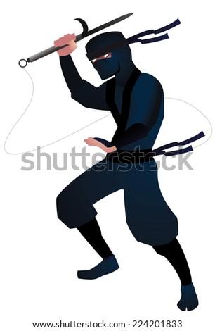 ninja attack cartoon vector illustration - stock vector