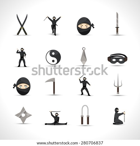 Ninja icons flat set with japanese men in traditional fighting costumes and weapon isolated vector illustration - stock vector