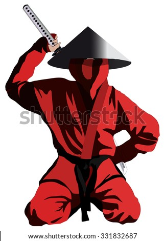 Ninja in the red uniform, isolated on white, vector illustration - stock vector