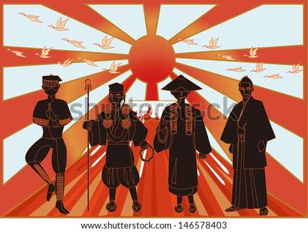 ninja,monk,priest,samurai. - stock vector