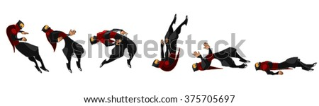 Ninja Samurai Dying Movement Sequence Set of 6 Flips Cartoon Vector - stock vector