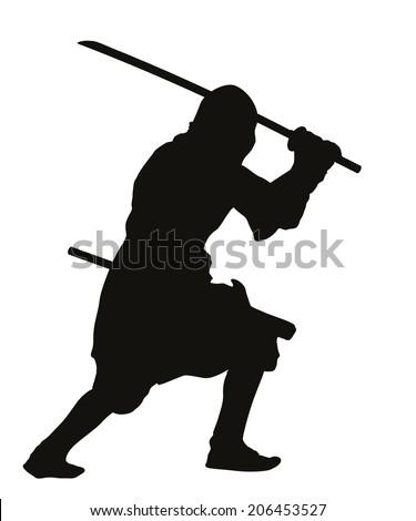 Ninja warrior with sword detailed vector silhouette. EPS 8 - stock vector