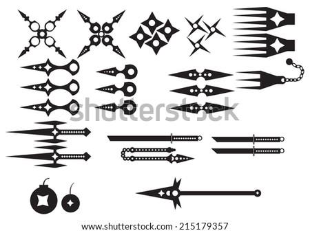 Ninja weapons - stock vector