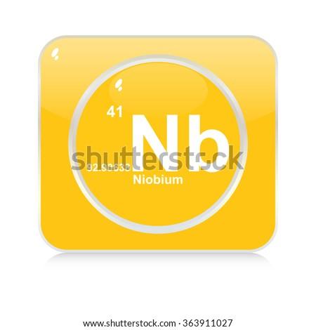 niobium chemical element button - stock vector