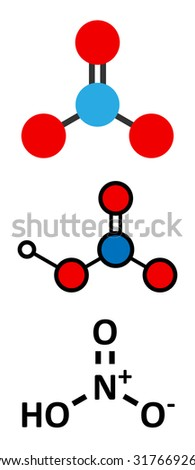 Nitric acid (HNO3) strong mineral acid molecule. Used in production of fertilizer and explosives. Stylized 2D renderings and conventional skeletal formula.  - stock vector