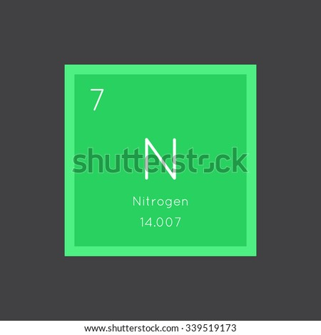 Nitrogen simple style tile icon. Chemical element of periodic table. Vector illustration EPS8 - stock vector