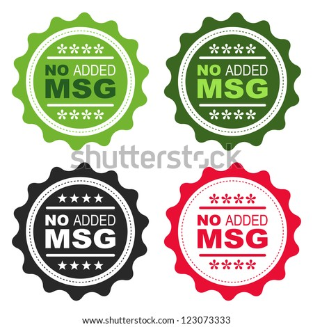 No added Monosodium Glutamate (MSG) food labels. - stock vector