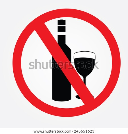 No alcohol drinks,prohibits sign vector - stock vector