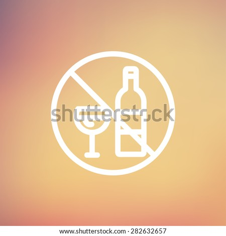 No alcohol sign icon thin line for web and mobile, modern minimalistic flat design. Vector white icon on gradient mesh background. - stock vector