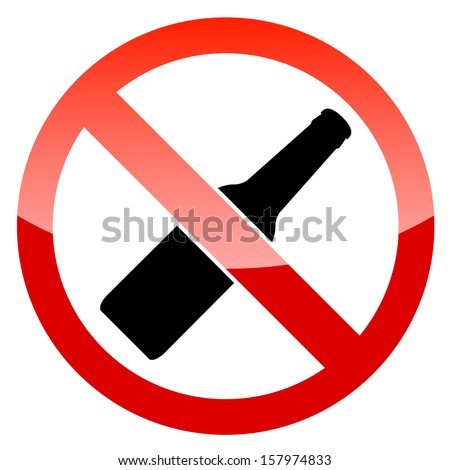 No alcohol vector sign on a white background - stock vector