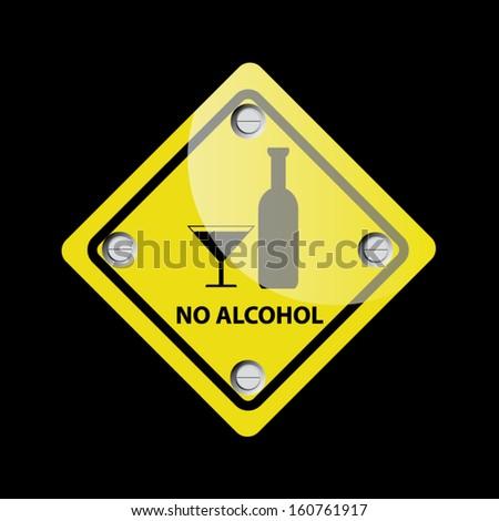 No alcohol vector sign - Vector  - stock vector