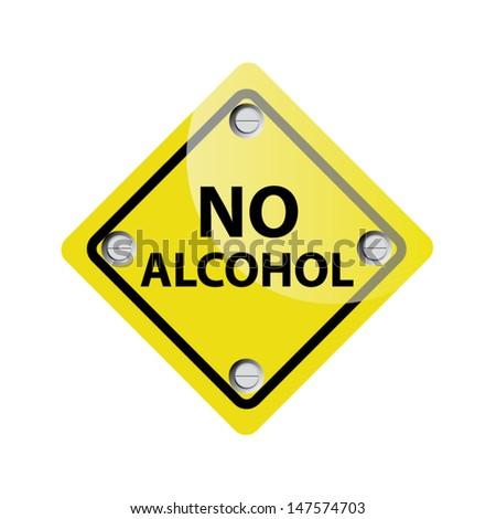 No alcohol yellow sign. Vector - stock vector