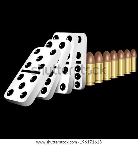 No and stop violence, down bullets and guns - stock vector