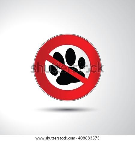 No animals no pets paw prohibition sign icon illustration - stock vector