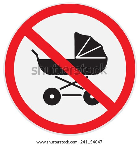 No, baby, carriage, sign - stock vector