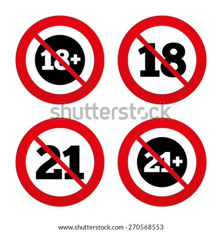 No, Ban or Stop signs. Adult content icons. Eighteen and twenty-one plus years sign symbols. Prohibition forbidden red symbols. Vector - stock vector