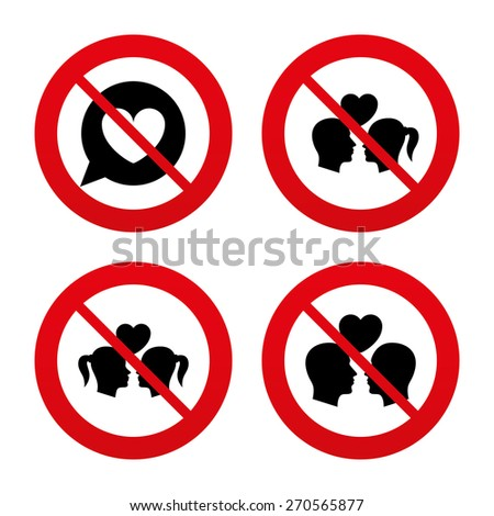 No, Ban or Stop signs. Couple love icon. Lesbian and Gay lovers signs. Romantic homosexual relationships. Speech bubble with heart symbol. Prohibition forbidden red symbols. Vector - stock vector