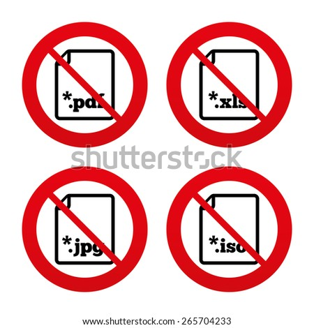 No, Ban or Stop signs. Download document icons. File extensions symbols. PDF, XLS, JPG and ISO virtual drive signs. Prohibition forbidden red symbols. Vector - stock vector