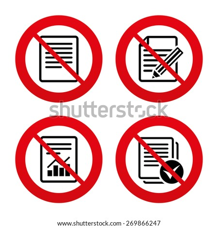 No, Ban or Stop signs. File document icons. Document with chart or graph symbol. Edit content with pencil sign. Select file with checkbox. Prohibition forbidden red symbols. Vector - stock vector