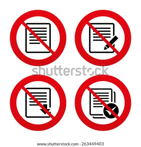No, Ban or Stop signs. File document icons. Download file symbol. Edit content with pencil sign. Select file with checkbox. Prohibition forbidden red symbols. Vector - stock vector