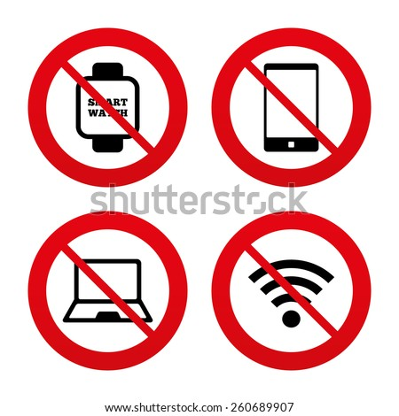 No, Ban or Stop signs. Notebook and smartphone icons. Smart watch symbol. Wi-fi sign. Wireless Network symbol. Mobile devices. Prohibition forbidden red symbols. Vector - stock vector