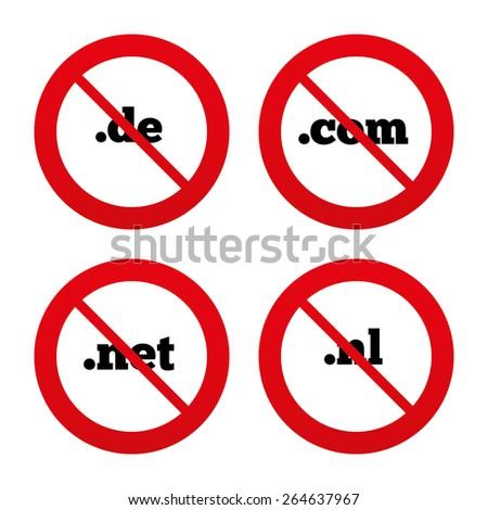 No, Ban or Stop signs. Top-level internet domain icons. De, Com, Net and Nl symbols. Unique national DNS names. Prohibition forbidden red symbols. Vector - stock vector