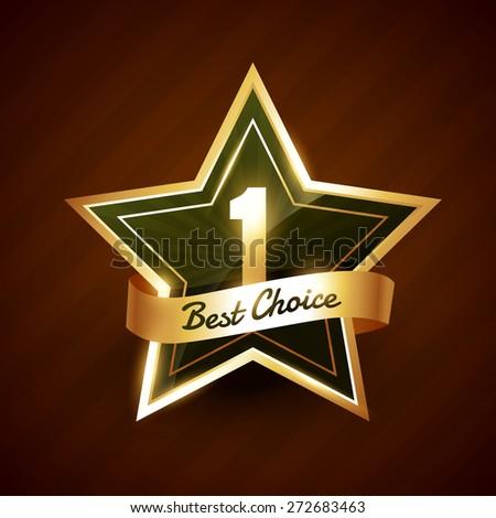 no. 1 best choice golden label badge vector design - stock vector