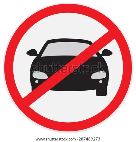 No, cars, parking, allowed, sign, vector, illustration  - stock vector