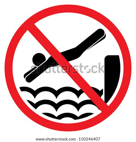 No diving and jumping sign - stock vector