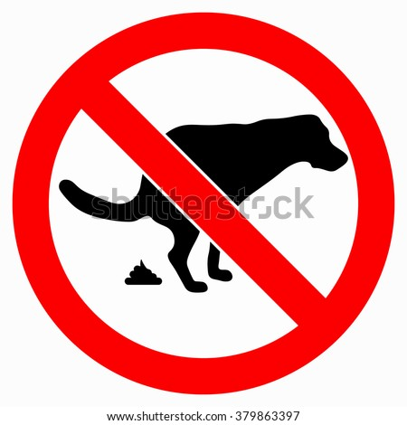 No dog pooping sign - stock vector