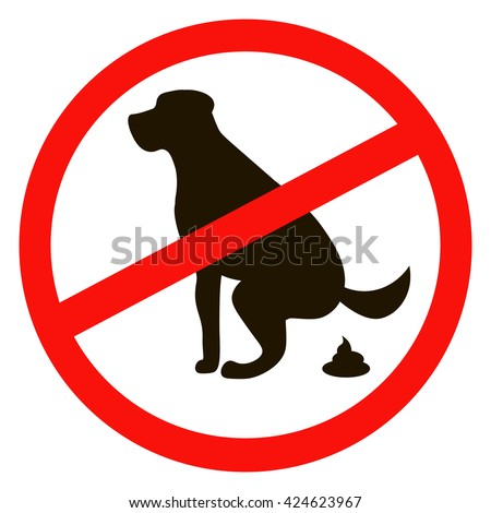 No dog pooping sign black silhouette on white background - stock vector