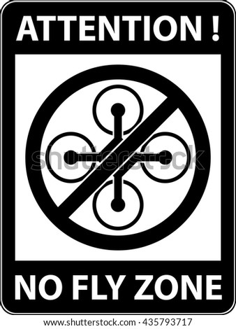 No drone, multicopter prohibited symbol. Not fly zone. Sign indicating the prohibition or rule. Warning and forbidden. Flat design. Vector illustration. Easy to use and edit. EPS10. - stock vector