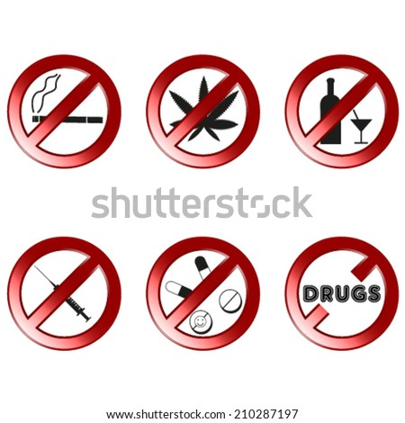 No drugs, no alcohol prohibition signs (shinny) . 3d like vector. - stock vector