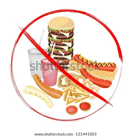 No Fast Food, An Illustration of Forbidden or Prohibition Sign on Different Types of Junk Food, Soda Drink, Hot Dog, Hamburger, French Fries and Onion Ring - stock vector