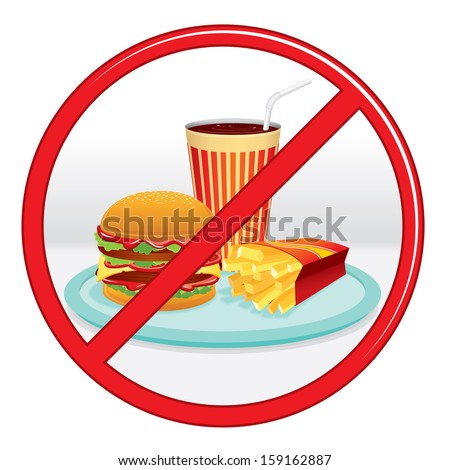 No Fast Food, Prohibition Sign. Vector Label. - stock vector