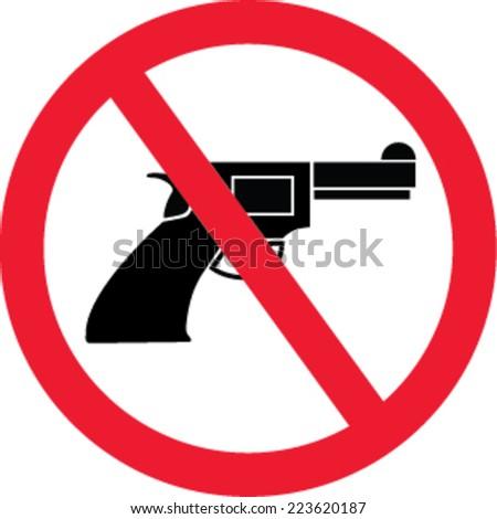 no gun sign - isolated illustration  - stock vector