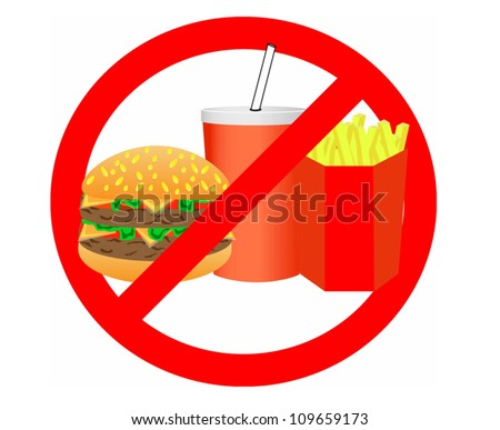 no junk food label - stock vector