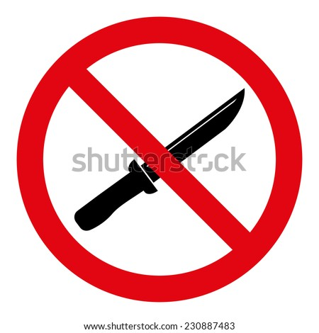No Knife Sign - stock vector