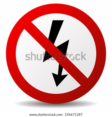 No lightning icon - stock vector