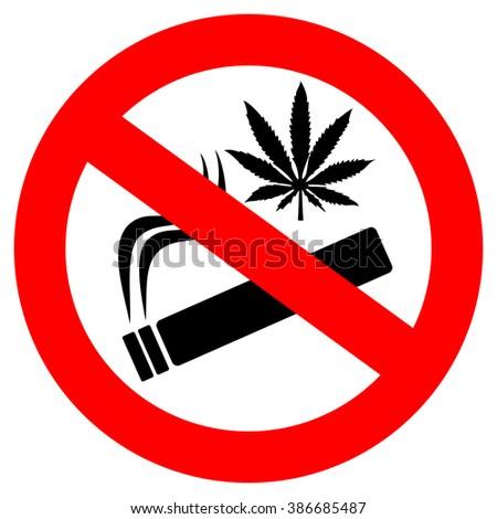 No marijuana smoking sign - stock vector