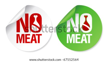 No meat round stickers set. - stock vector