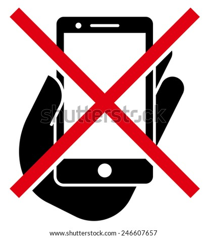 No mobile phones icon - stock vector