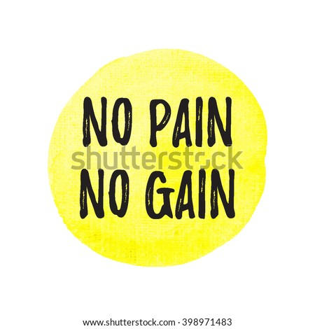 Gym workout design template with NO PAIN NO GAIN quote on yellow ...