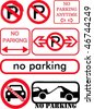 No parking signs collection - stock vector