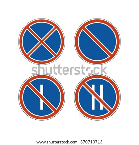 No parking signs set. Controlled parking zone traffic signs. Clearways icons.  - stock vector