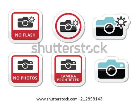 No photos, no cameras, no flash icons - stock vector