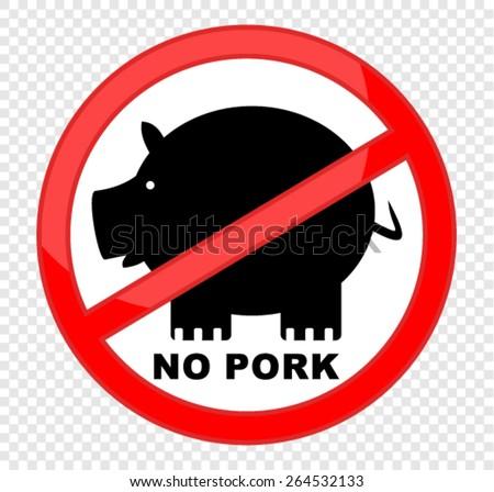 No pork vector sticker - stock vector